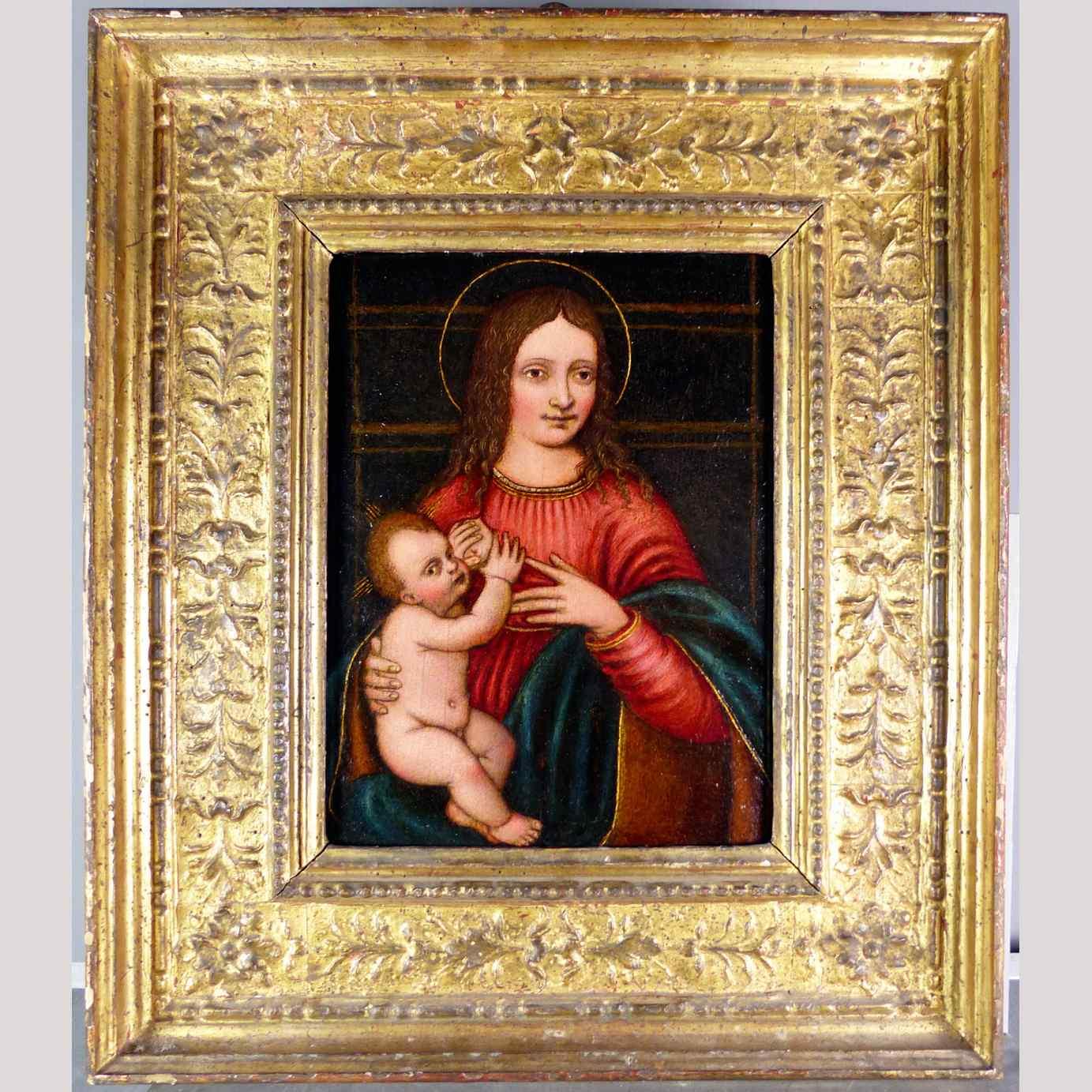 Madonna con Bambino, tavola del '500,ambito Marco D'Oggiono