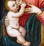 Madonna con Bambino, tavola del '500,ambito Marco D'Oggiono-6