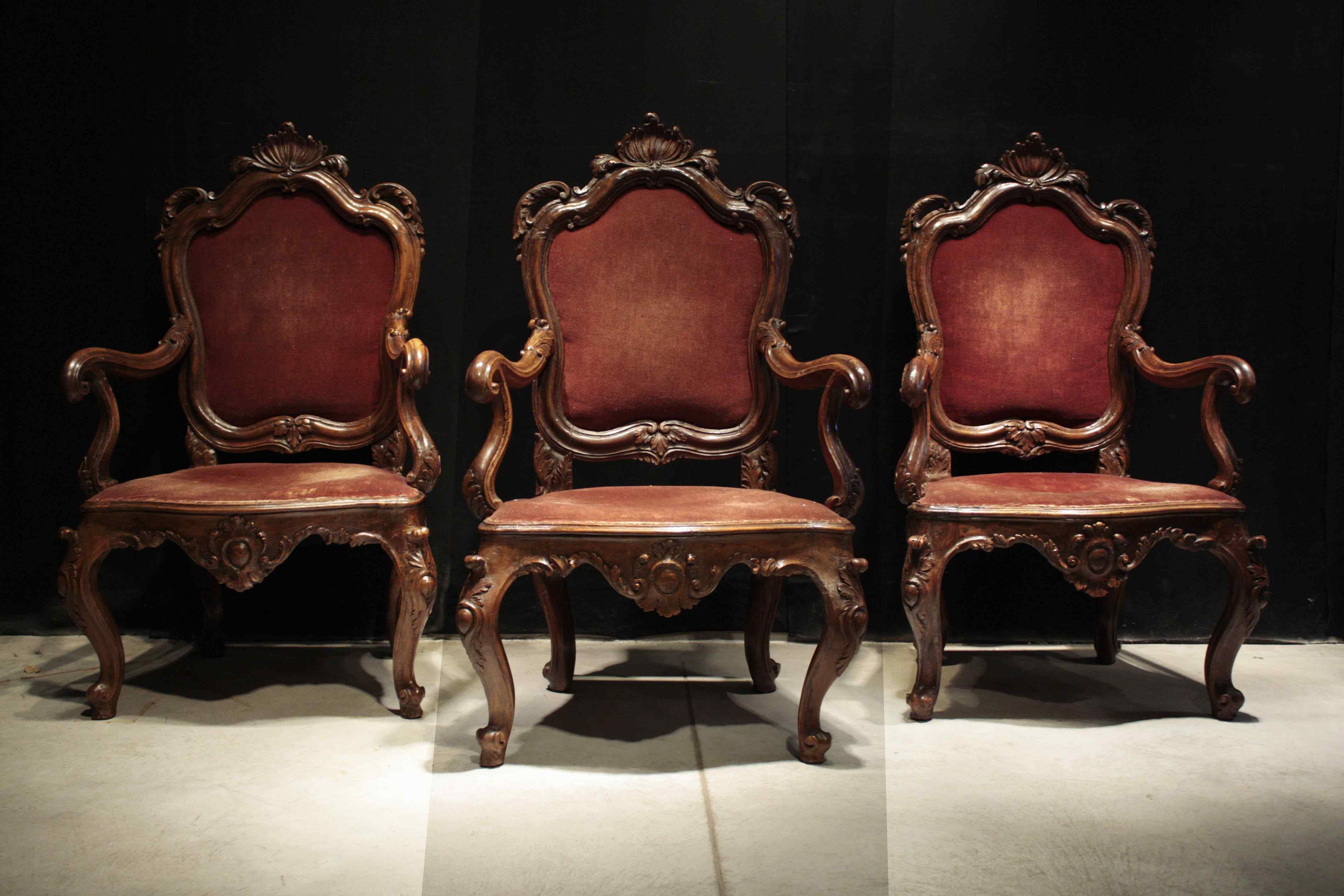 Tre poltrone veneziane Sec. XVIII