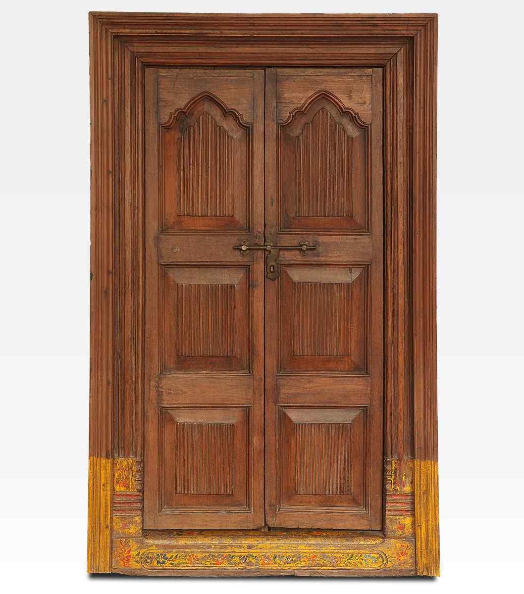 Porta indiana dipinta e intagliata in legno di teak