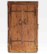Porta indiana dipinta e intagliata in legno di teak-2
