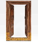 Porta indiana dipinta e intagliata in legno di teak-1