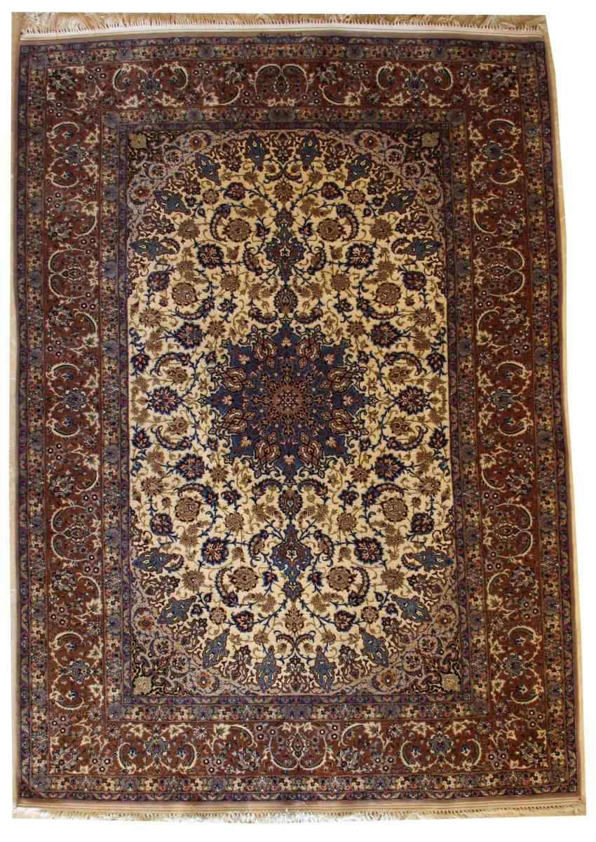 Iran Tappeto Isfahan Nentechari lana e seta firmata da 1960