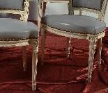 Groupe de chaises laquées antique - Paris XVIII siècle-3