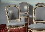 Groupe de chaises laquées antique - Paris XVIII siècle-2