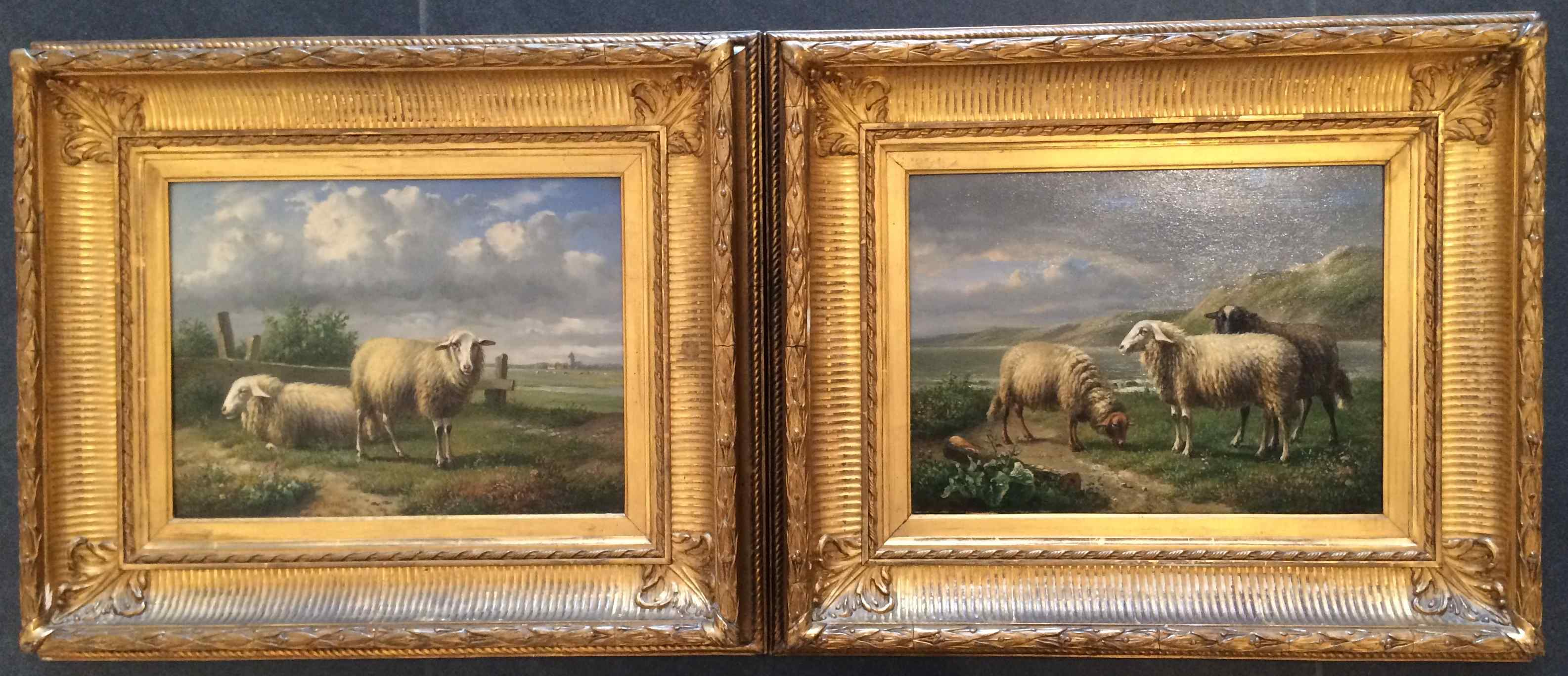 Coppia di dipinti di Louis-Pierre Verwee