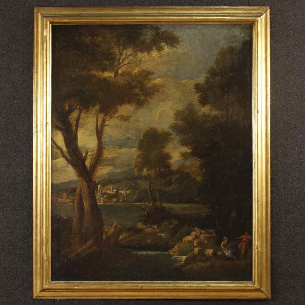 Antico dipinto italiano paesaggio olio su tela XIX secolo