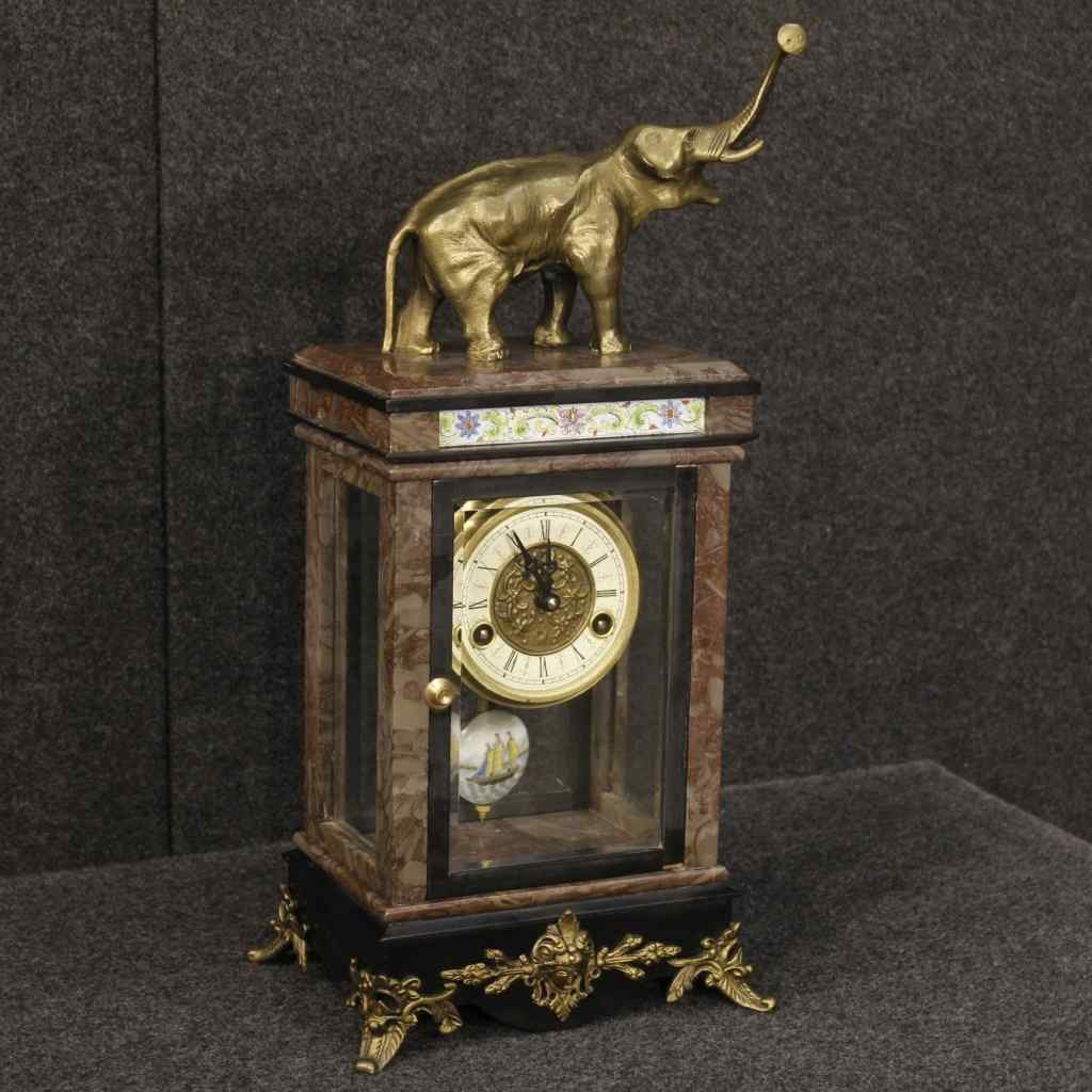 Dutch clock in marble with elephant sculpture