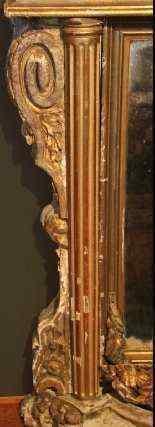 Specchiera-console Luigi XIV in legno dorato e patinato-5