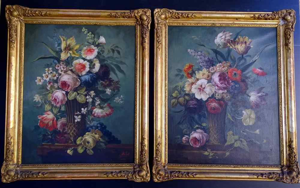 Пара 19-цветочные композиции, масло / холст