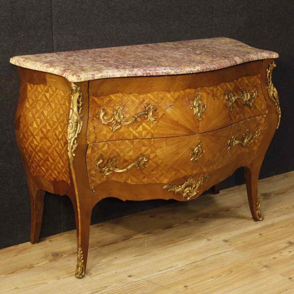 Comò francese intarsiato in stile Luigi XV piano in marmo :: AnticSwiss
