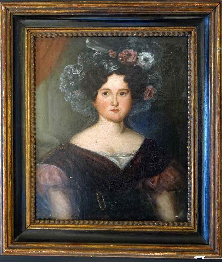 Ec.Française  19ème Portrait J.Femme à la Couronne de Fleurs