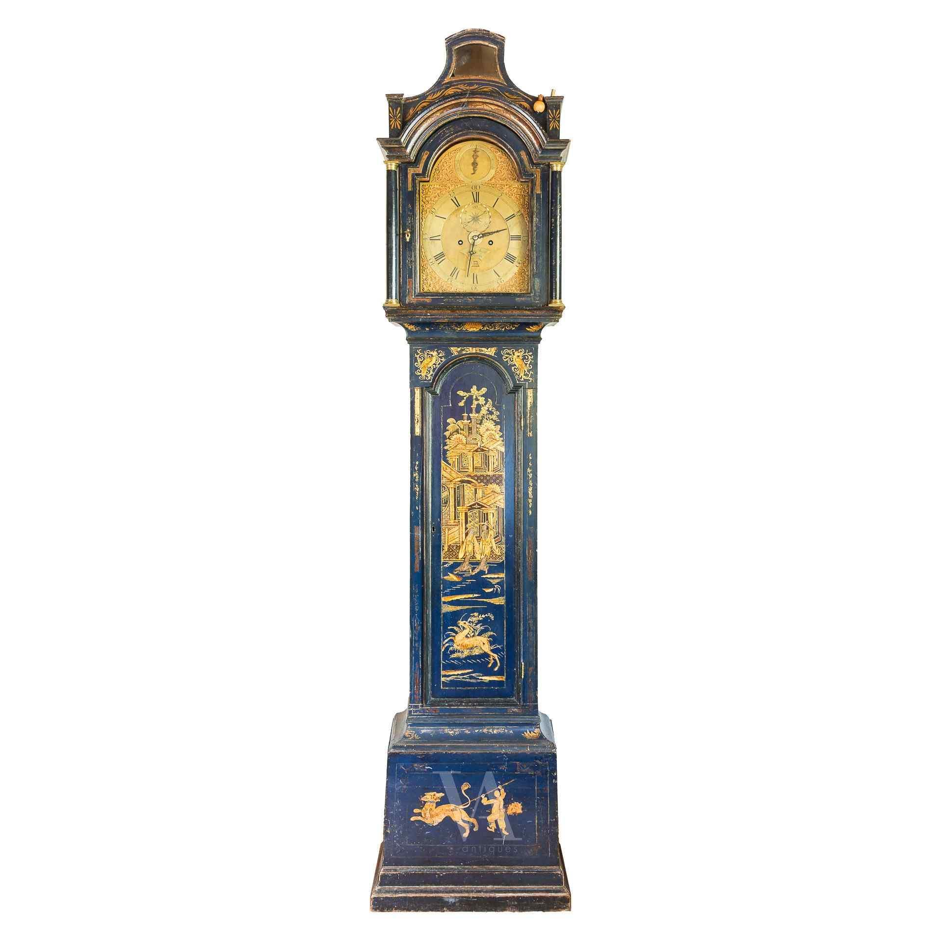 Orologio a colonna in legno laccato. Londra, XVIII sec.