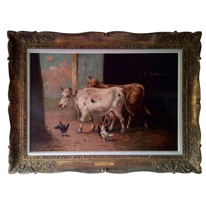 Vaches à la ferme, signé par Henry Paul SCHOUTEN