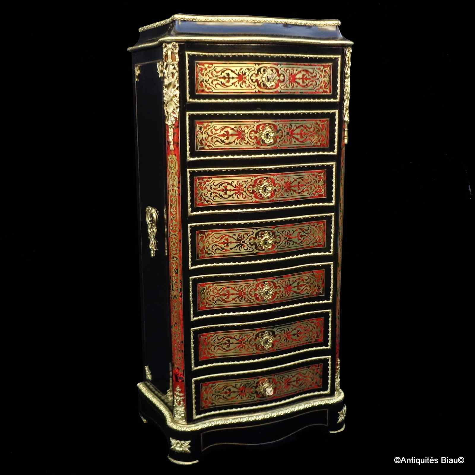 Furniture with 7 drawers in Boulle marquetry 19th  Napoleon