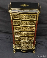 Furniture with 7 drawers in Boulle marquetry 19th  Napoleon-6