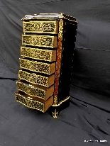 Furniture with 7 drawers in Boulle marquetry 19th  Napoleon-1