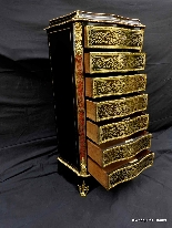 Furniture with 7 drawers in Boulle marquetry 19th  Napoleon-5