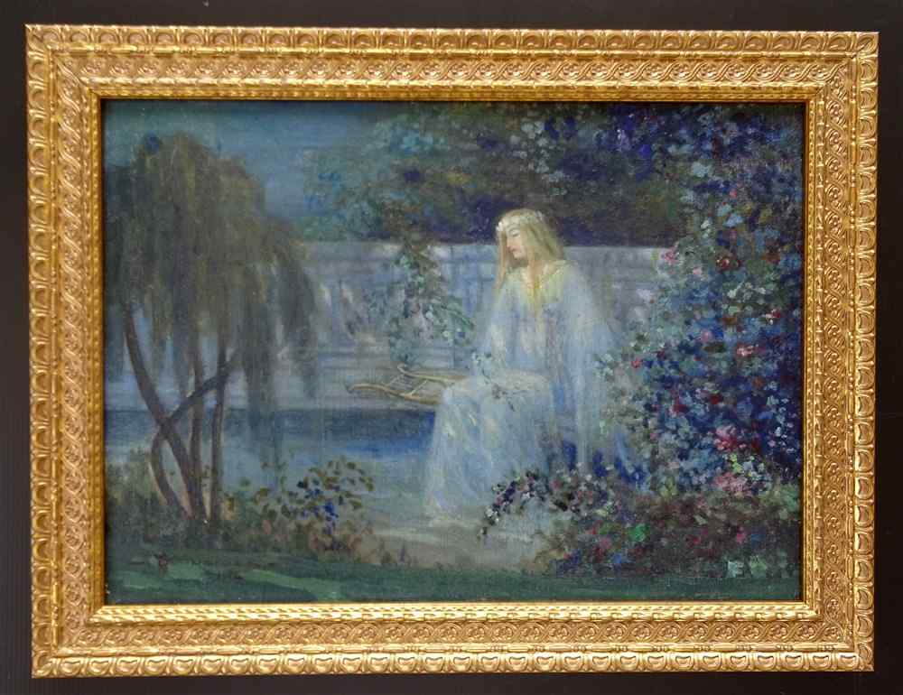 Young Girl with a Lyre in a Flowery Garden SCHNEIDER 1914