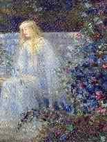 Ragazza con una lira nel 1914 Jardin Fleuri SCHNEIDER-6