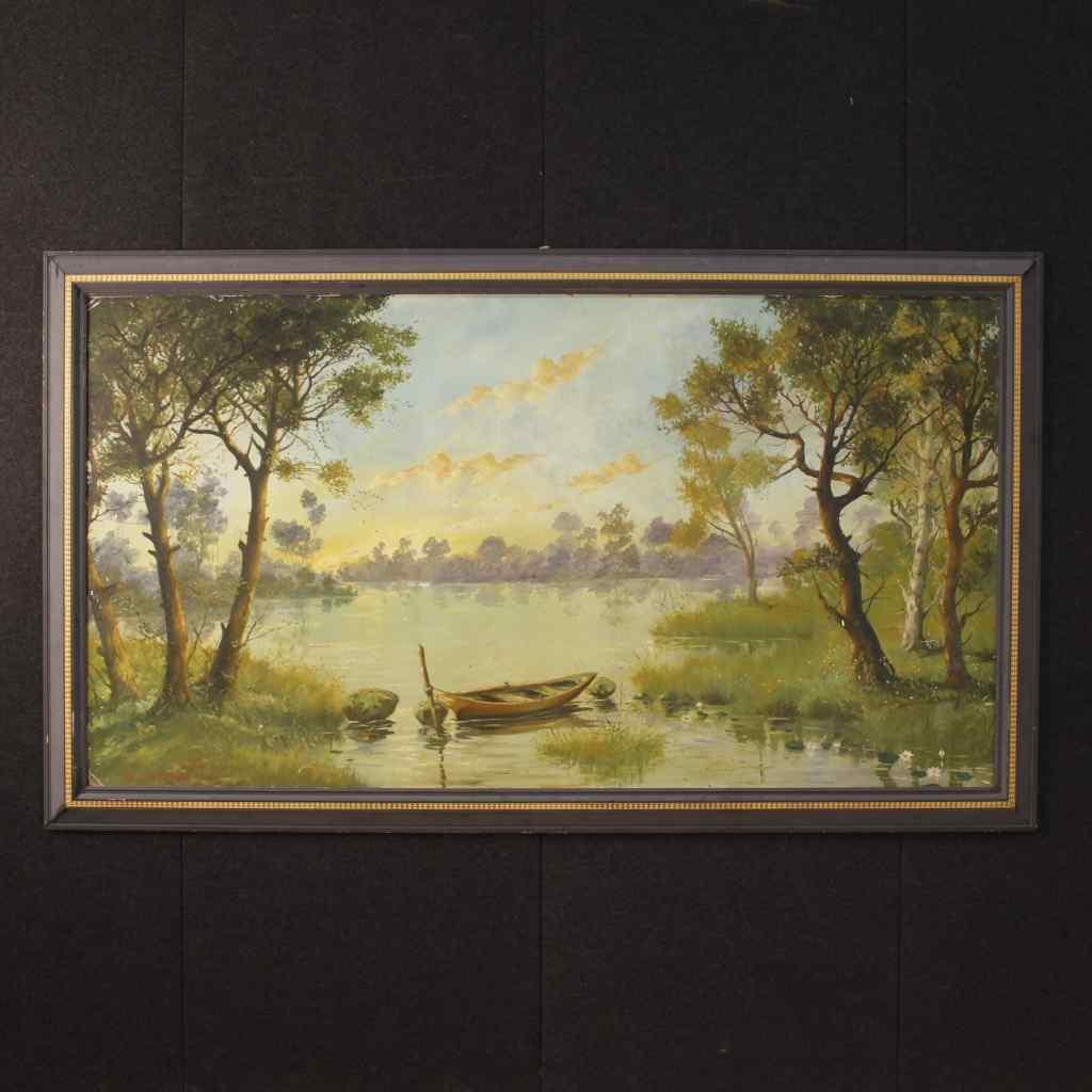 Tableau français paysage fluvial avec bateau