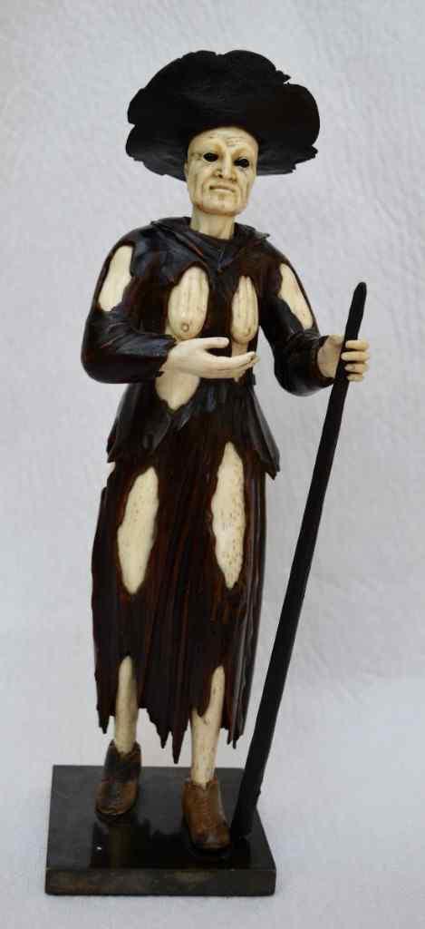Sculpture d'Une Mendiante. Ecole De Troger, XVIIIème.