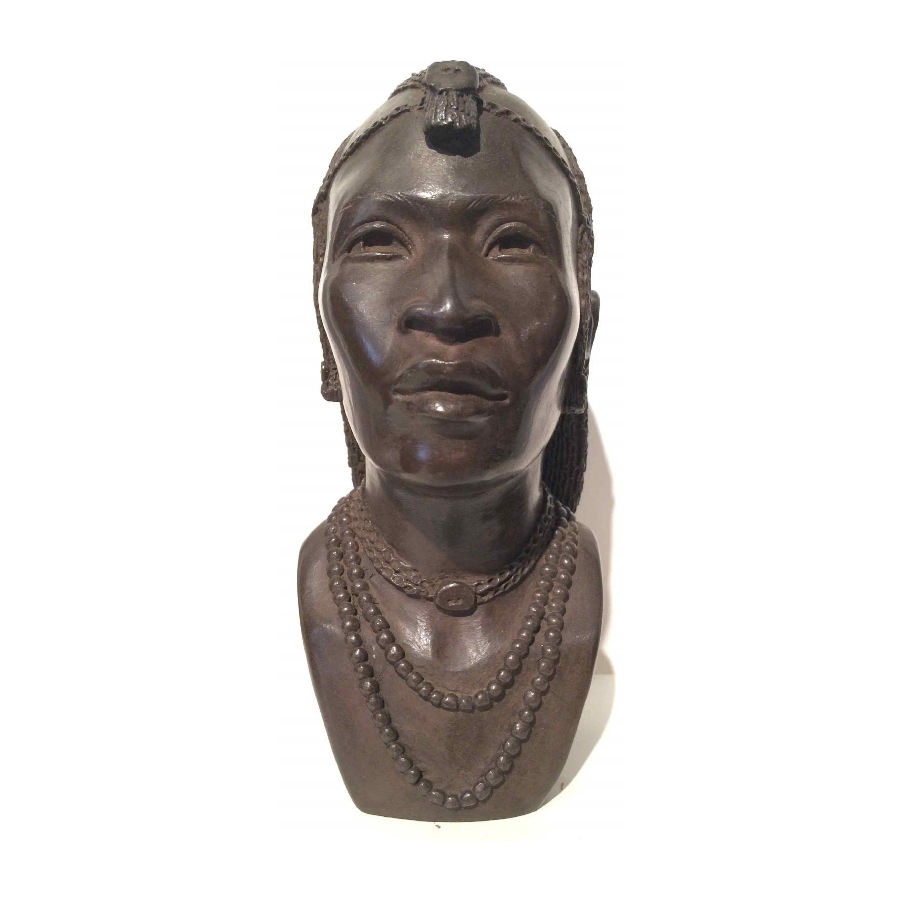 Bronze buste of an African man . ca. 1930 Foundry  L.Harze