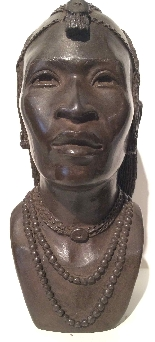 Bronze buste of an African man . ca. 1930 Foundry  L.Harze-0