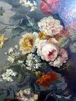 Importante Composition florale 19ème, huile/toile-5