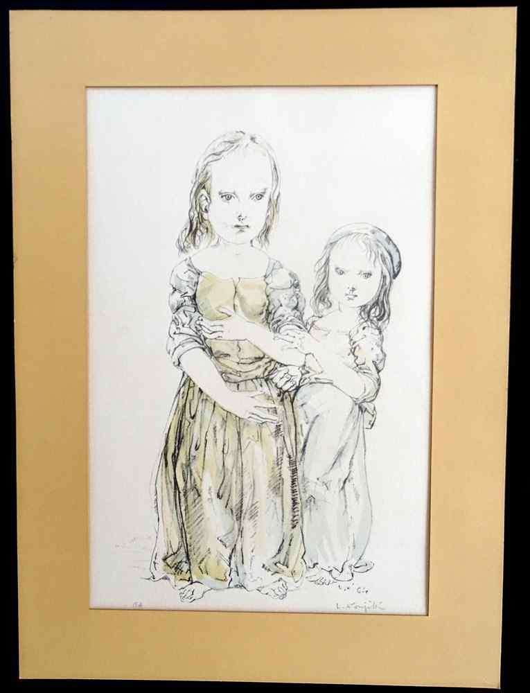 Leonardo tsuguharu foujita Madre e figlia di razza Art