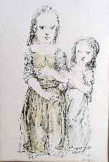 Leonardo tsuguharu foujita Madre e figlia di razza Art-6