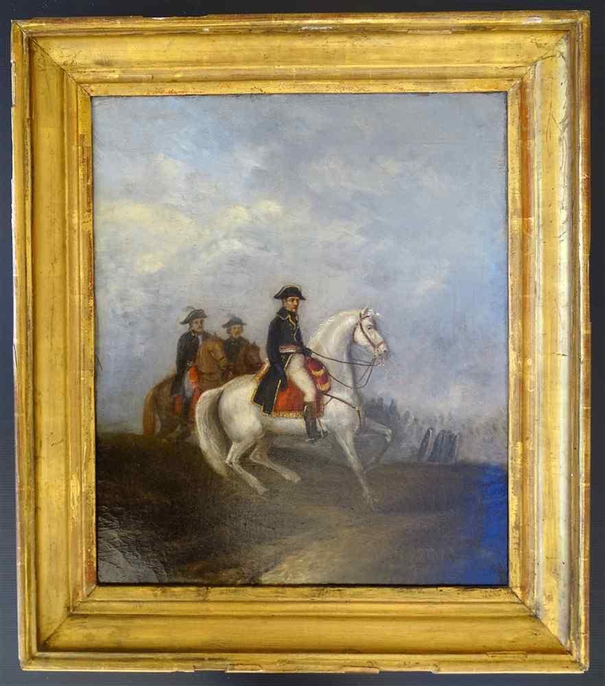 NAPOLEON sur son cheval blanc Ecole Française XIXème