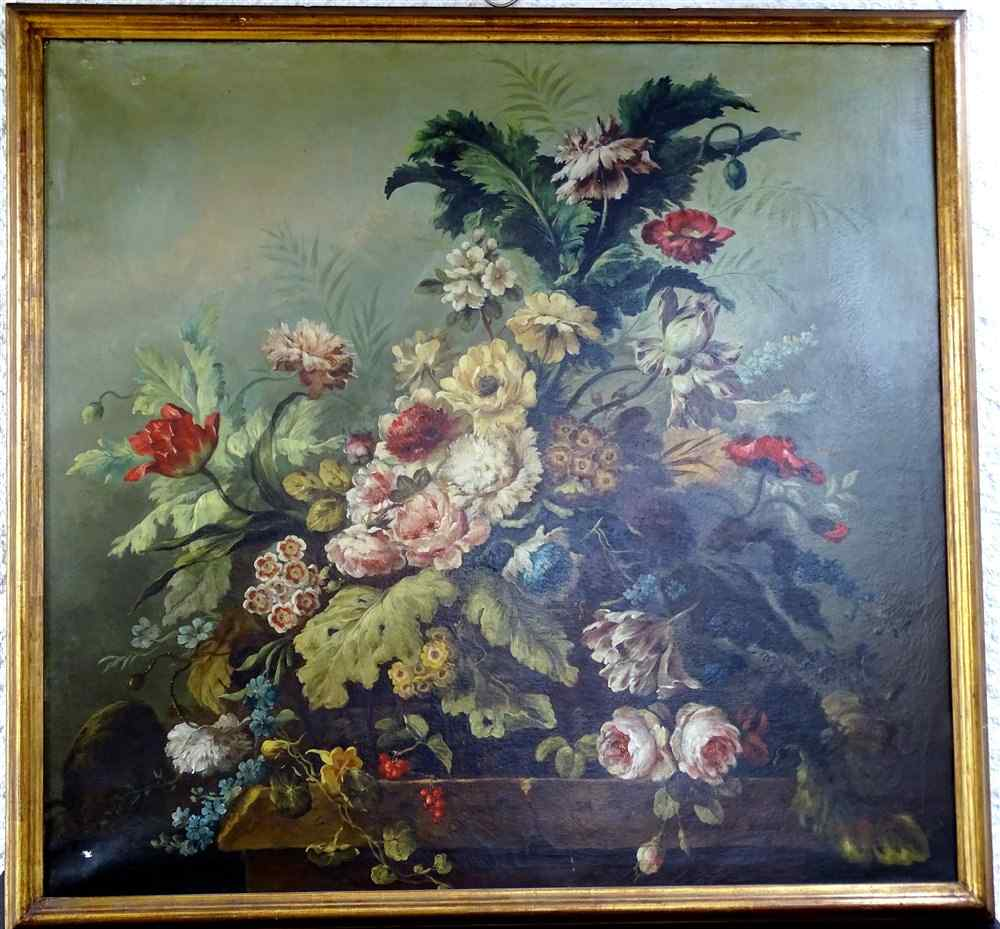 Importante Composition florale 19ème, huile/toile