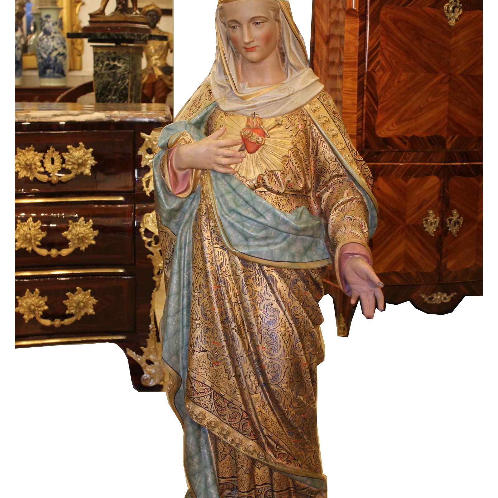 Importante statue du Sacré-Coeur De Marie En terre Cuite