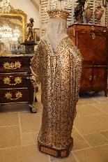 Importante statue du Sacré-Coeur De Marie En terre Cuite-7