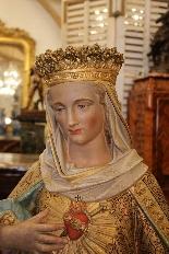 Importante statue du Sacré-Coeur De Marie En terre Cuite-0