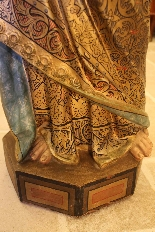 Importante statue du Sacré-Coeur De Marie En terre Cuite-5