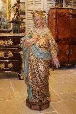 Importante statue du Sacré-Coeur De Marie En terre Cuite-1