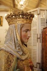 Importante statue du Sacré-Coeur De Marie En terre Cuite-9