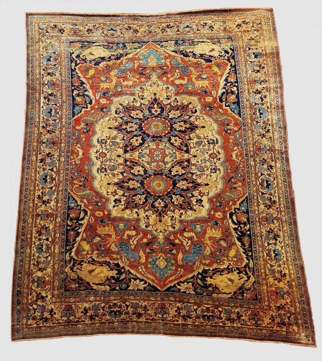 Гериз Ковер Великий Шелковый Dimension Иран 1870 - девятнадцатый