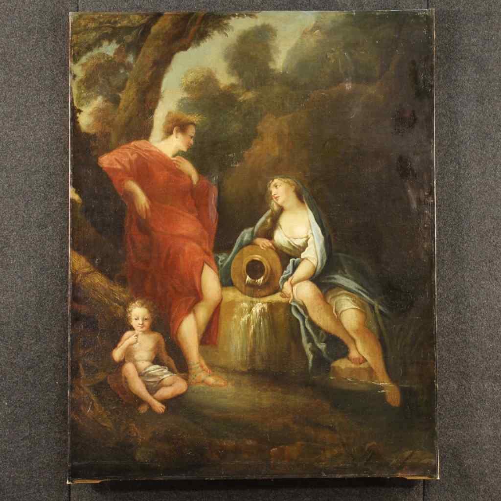 Antico dipinto francese olio su tela del XIX secolo