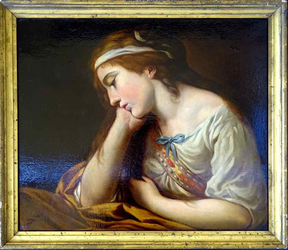 French School 18th Young Woman Pensive Ds the Taste of Greuz