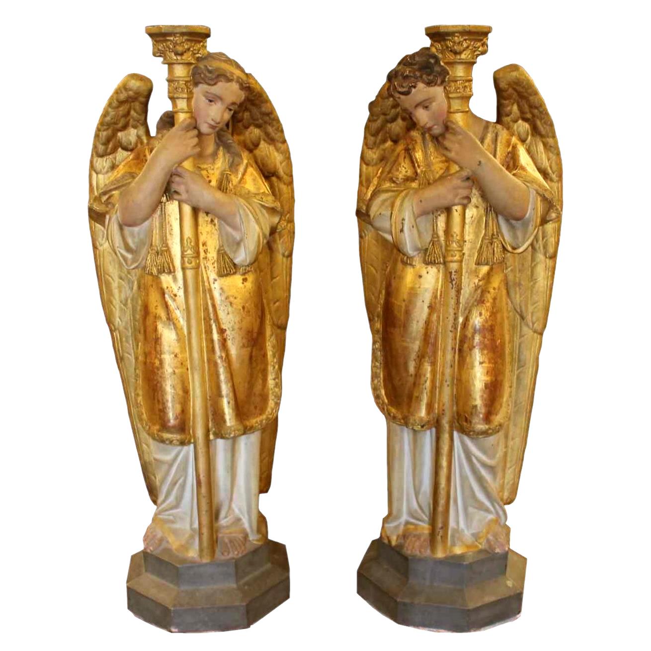 céroféraires пара ангелов в терракотовом, Венето девятнадцатый ЕКСЕ
