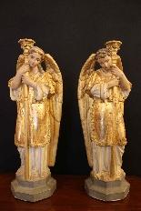 Coppia di angeli in terracotta, Veneto XIX secolo-0