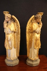 Coppia di angeli in terracotta, Veneto XIX secolo-3