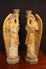 céroféraires пара ангелов в терракотовом, Венето девятнадцатый ЕКСЕ-5