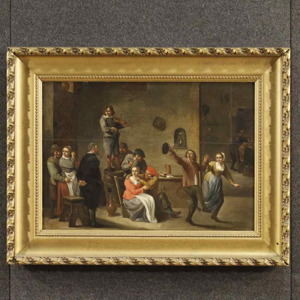 Ancien tableau hollandaise sc ne d 39 int rieur du 19 me for Interieur 19eme siecle