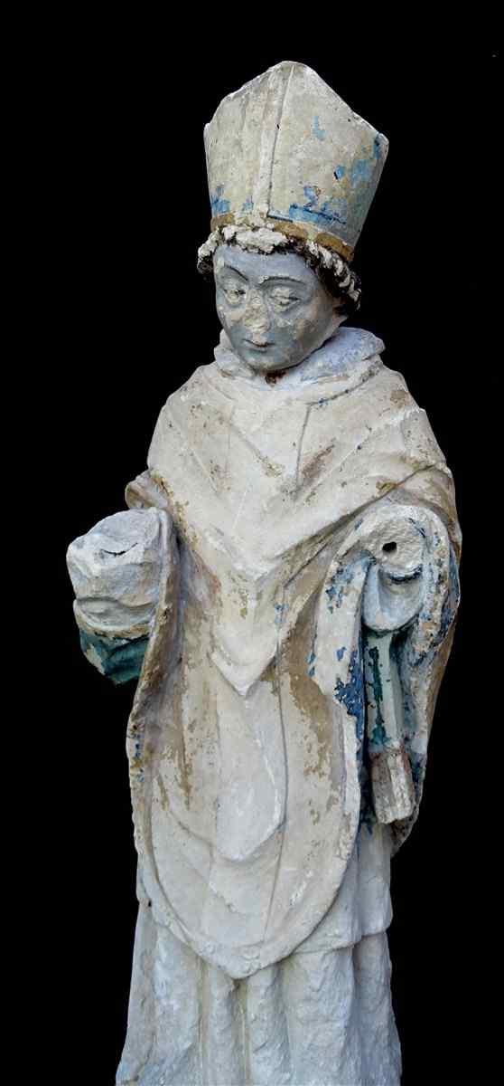 San Vescovo in calcare policroma 14 ° secolo Moye