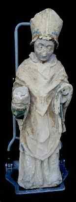Holy Bishop Polychrome limestone 14th century Moye-0