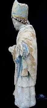 Holy Bishop Polychrome limestone 14th century Moye-4